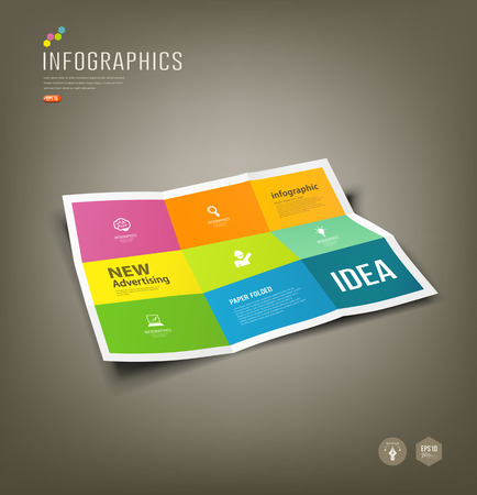 Colorful Paper Infographics, Folded 9 fold for business Vector