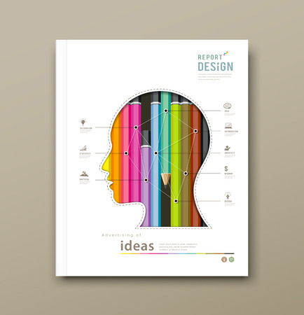 Cover Report head silhouette, and colorful pencils Vector