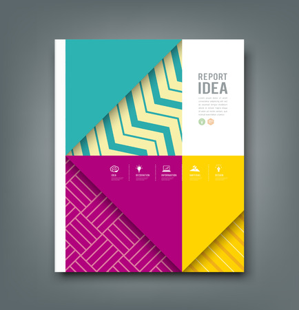 Report design, colorful pattern fabrics triangle and square  Vector