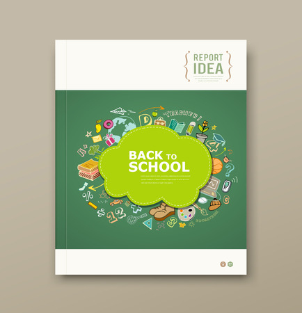 Cover Magazine educations with icons design background Vector