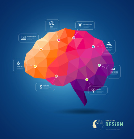brain and thinking: Cover Magazine skull and brain for business design background Illustration