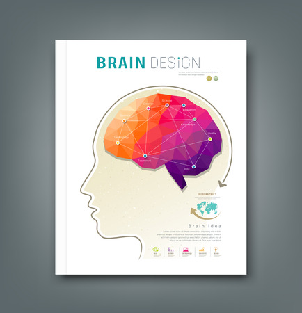 Cover Magazine skull and brain for business design background, vector Vector