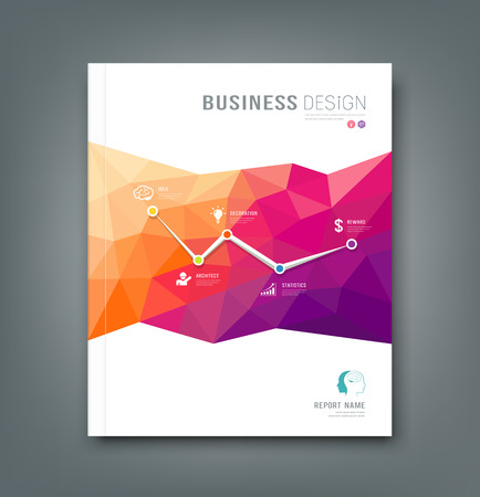 company background: Cover Magazine geometric shapes info-graphic for business design background