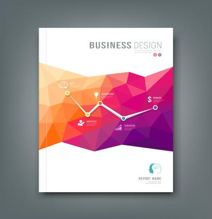 fundas: Portada de la Revista de formas geométricas info-gráfico para el diseño de negocio de fondo Vectores