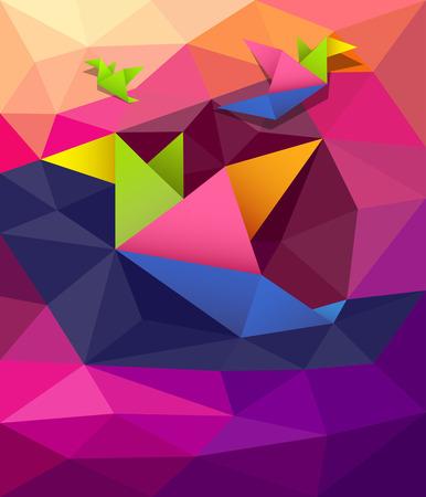 Colorful origami paper birds shape geometric design background