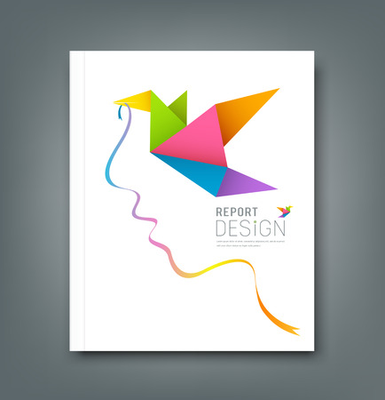 Magazine colorful origami birds with ribbon shape face  Vector