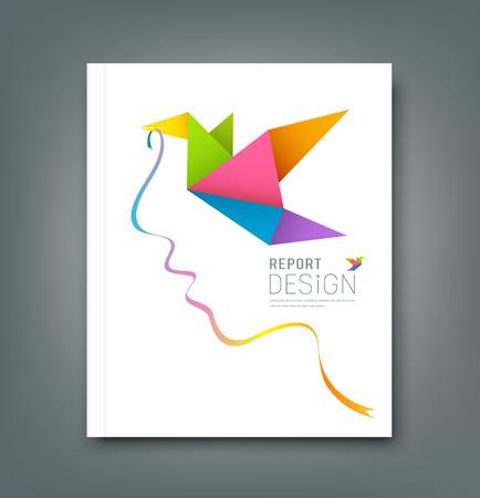Magazine colorful origami birds with ribbon shape face  Illustration
