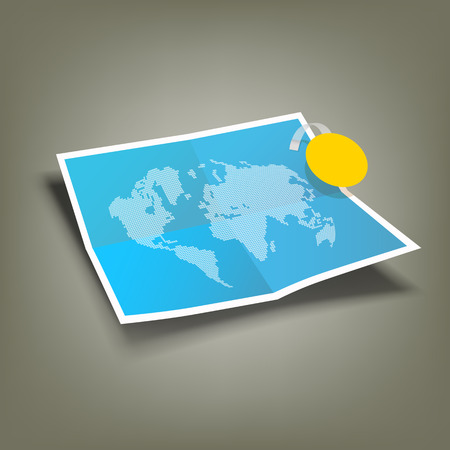 Blue Paper Folded, four fold and world map Vector