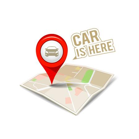 green street: Mapa puntero rojo con el coche de dise�o de fondo Vectores