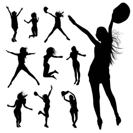 Silhouette people jumping and movement  Vector
