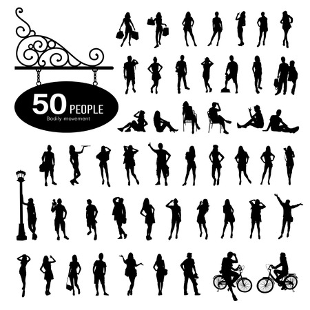 bodily: Silhouette people bodily movement background