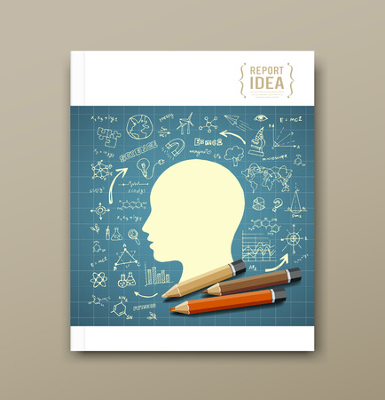 Cover Magazine Sketch hand drawn science icons  Illustration