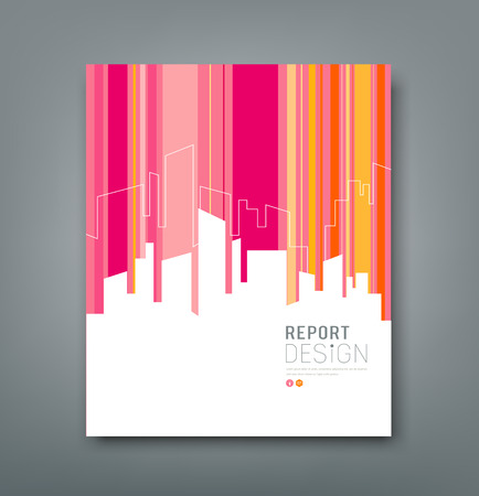 Cover Magazine Silhouette building colorful background  Vector