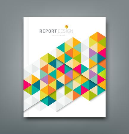 レポート抽象的なカラフルな幾何学的設計をカバーします。