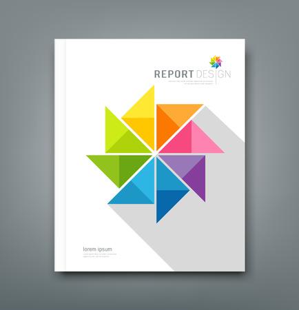Bedek Jaarverslag, kleurrijke windmolen papier Stock Illustratie