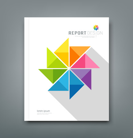 report cover design: Cover Annual report, colorful windmill paper