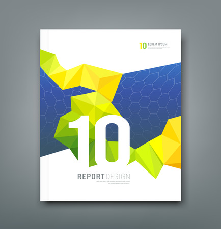 cover art: Copertina Magazine geometria di progettazione giallo e verde