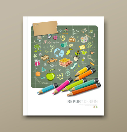 Cover report sketch hand drawn education icons Vector