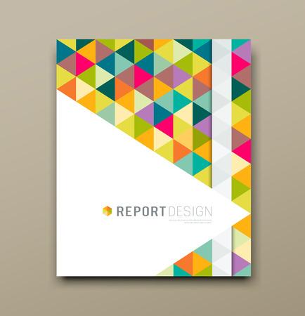 レポート カラフルな三角形の幾何学模様のデザインの背景をカバーします。