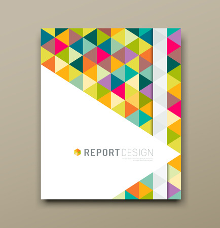 annual: Cover report colorful triangle geometric pattern design background
