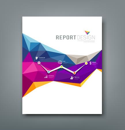 レポートのカラフルな幾何学的図形のデザインをカバーします。  イラスト・ベクター素材