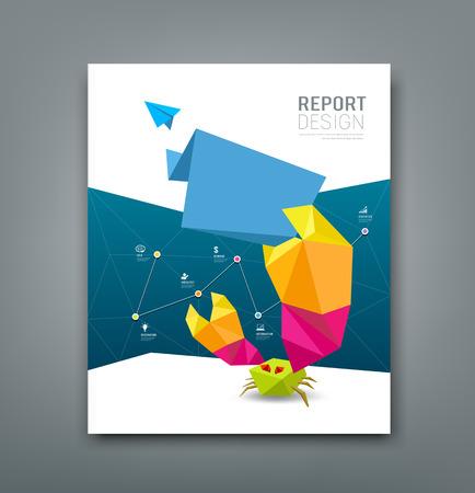 Cover Magazine origami paper crab business design Vettoriali