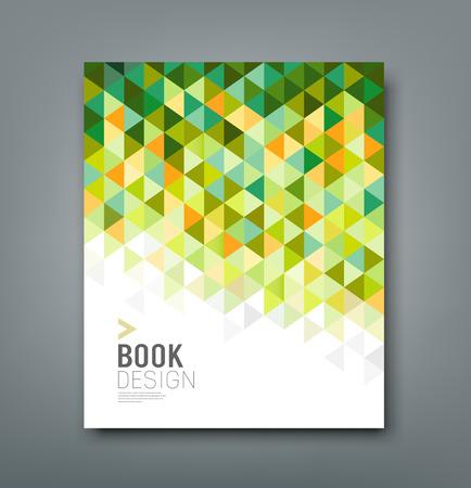 커버 보고서 녹색 삼각형 기하학적 인 패턴