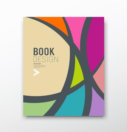 雑誌抽象的なカラフルな曲線のデザインの背景をカバーします。  イラスト・ベクター素材