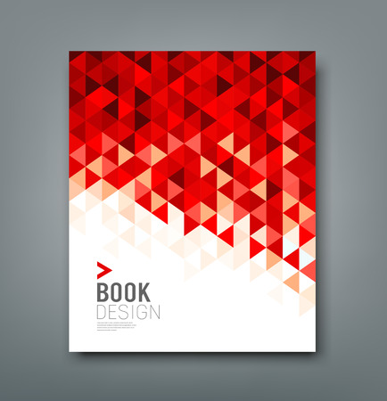 report cover design: Cover report red triangle geometric pattern design background