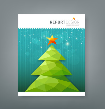 Cover report, Christmas tree geometry design Vector