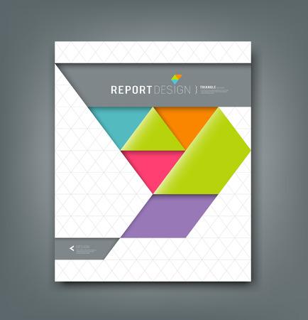 レポート カラフルな折り紙紙の三角形のバック グラウンドをカバーします。  イラスト・ベクター素材