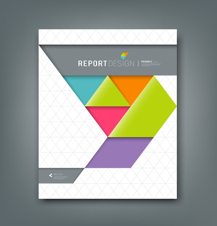 Rapporto di copertura colorato origami triangolo sfondo di carta Archivio Fotografico - 30812120