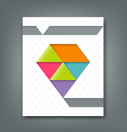 Cover report colorful origami paper triangle design  Vector