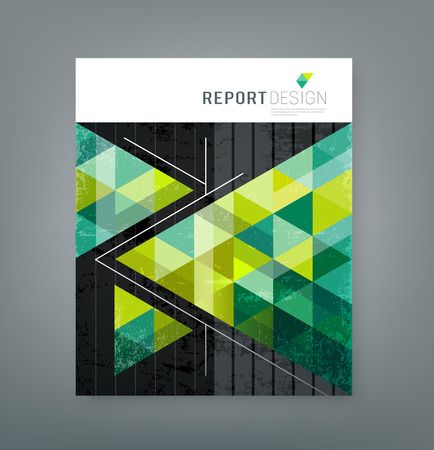 report cover design: Cover report triangle geometry green background