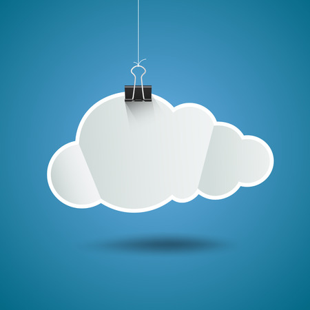 White paper cloud shape origami with binder clip design, on blue background Vector