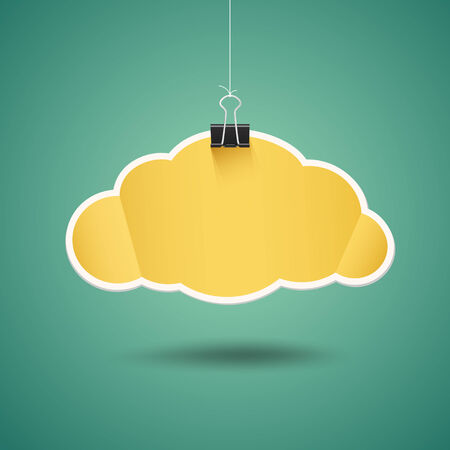 paper clips: Yellow paper cloud shape origami with binder clip design Illustration