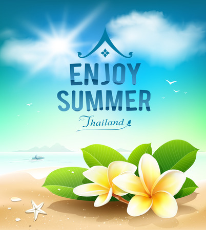 sea background: Plumeria flowers, enjoy summer greeting card