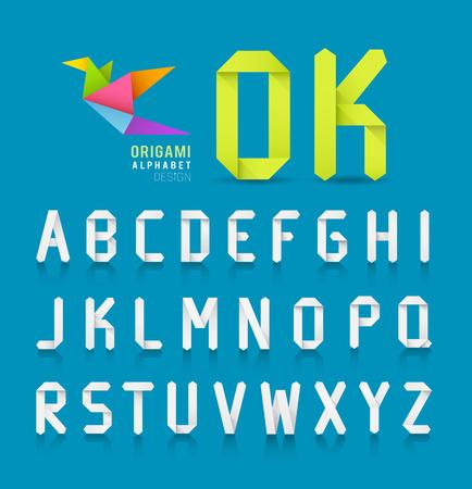 papier a lettre: Conception papier origami lettre de l'alphabet sur fond bleu