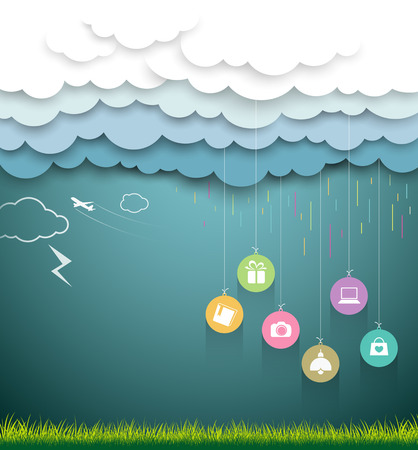 Cloud paper shape, sale shopping rainy season concept Vector