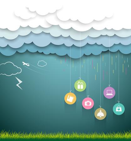 Cloud papieren vorm, verkoop winkelen regenseizoen begrip