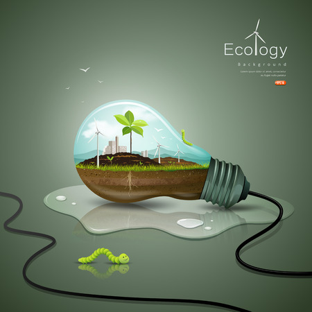 black soil: Light bulb ecology concept design background
