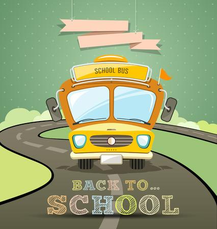 autobus escolar: Concepto de diseño del autobús escolar con el mensaje de nuevo a fondo de la escuela