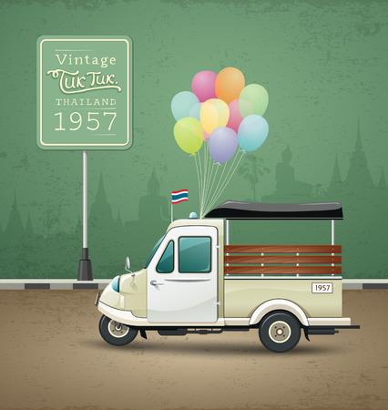 ビンテージ モーター三輪車 (トゥクトゥク) アユタヤ、タイ  イラスト・ベクター素材