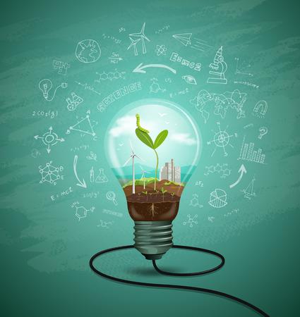 Green seedlings in a light bulb ecology