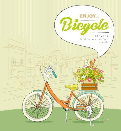 bike cover: Bicycle pots flower sketching landscape building
