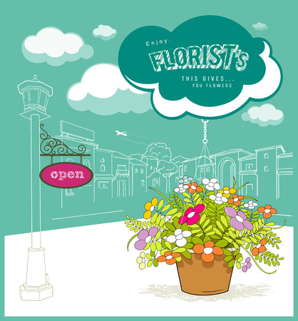 florist: florist flower with cloud and sketching building design