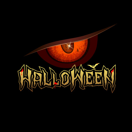 halloween message: Halloween message red eyes with bat and blood red design Illustration