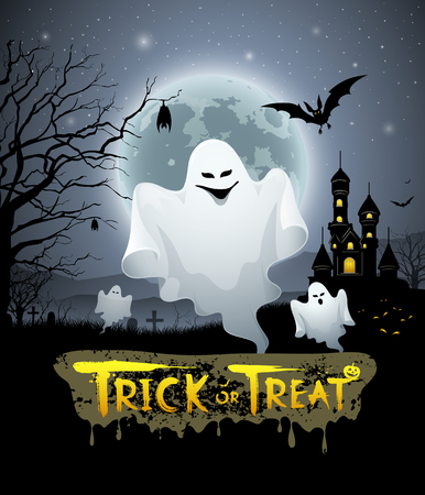 ghost cartoon: Happy Halloween ghost and message trick or treat design