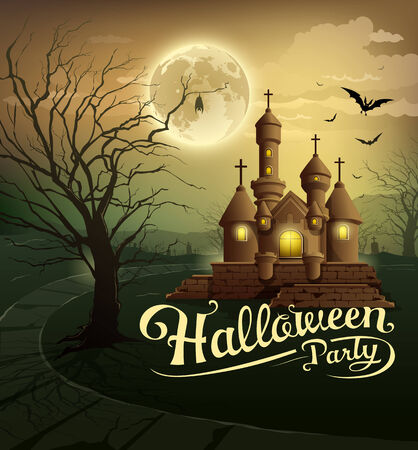 Happy Halloween party castles design Vector