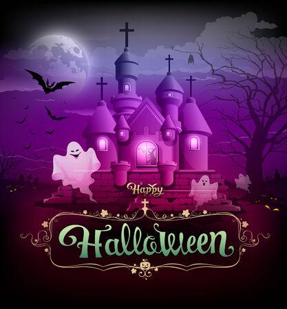 violet background: Buon design classico halloween su sfondo viola